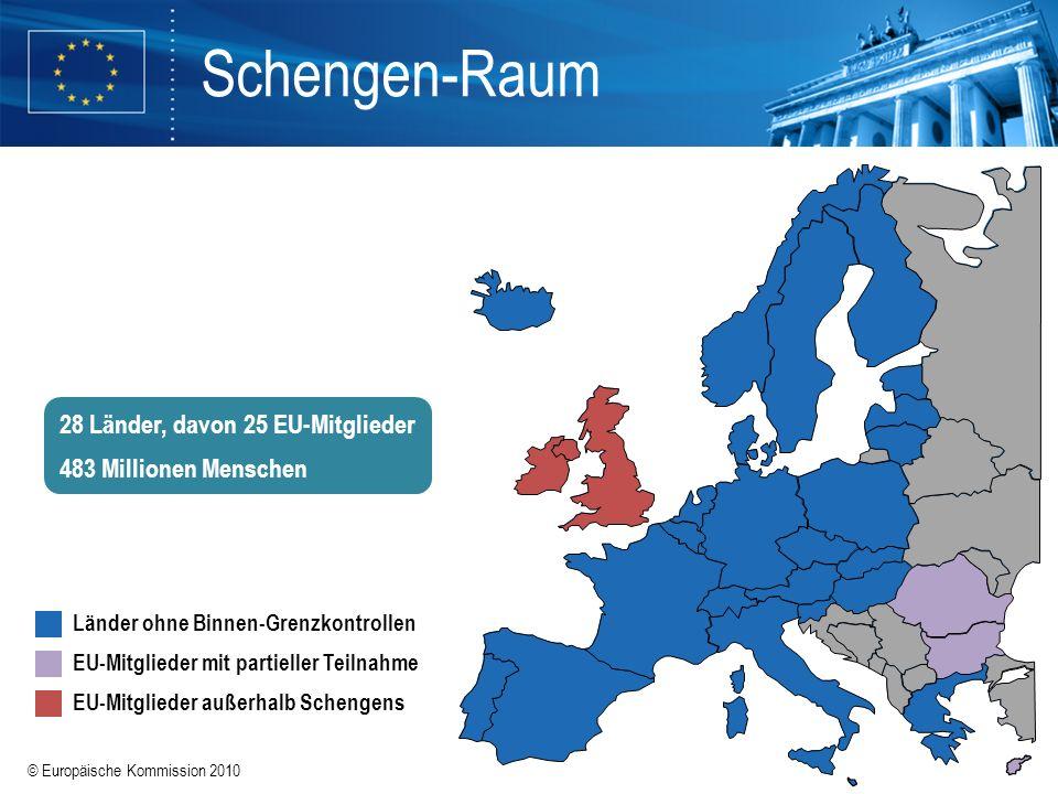 Schengen-Raum 28 Länder, davon 25 EU-Mitglieder 483 Millionen Menschen