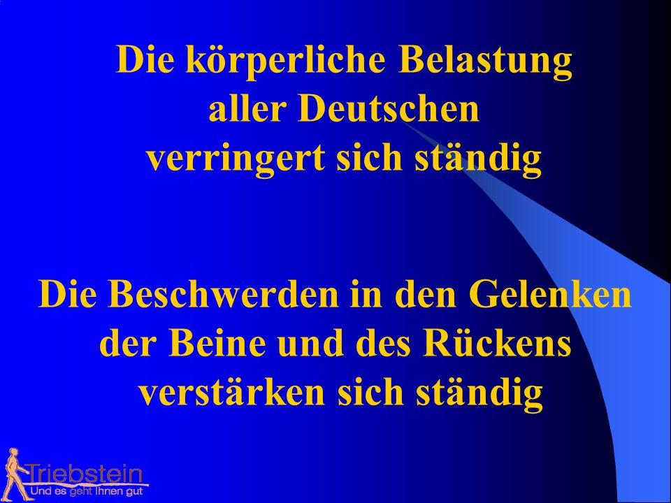 Die körperliche Belastung aller Deutschen verringert sich ständig