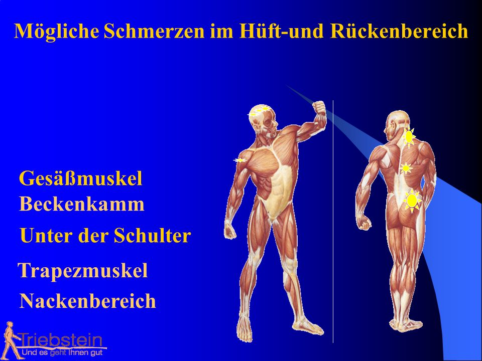 Mögliche Schmerzen im Hüft-und Rückenbereich