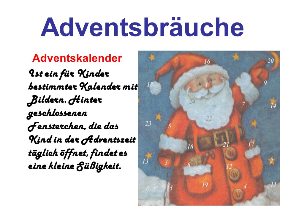 Adventsbräuche Adventskalender