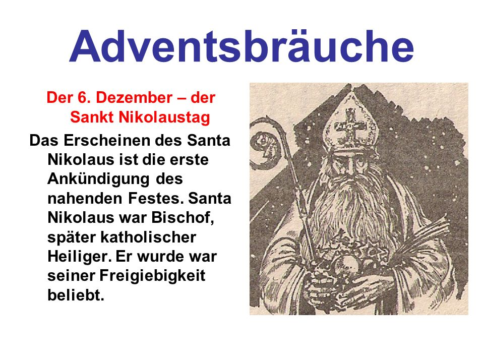 Der 6. Dezember – der Sankt Nikolaustag