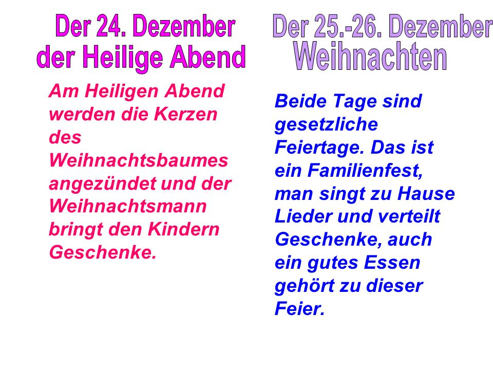 Der 24. Dezember Der 25.-26. Dezember Weihnachten der Heilige Abend