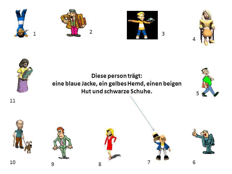 2 1. 3. 4. Diese person trägt: eine blaue Jacke, ein gelbes Hemd, einen beigen Hut und schwarze Schuhe.