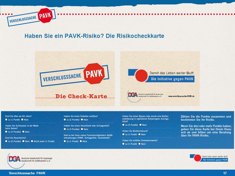 Haben Sie ein PAVK-Risiko Die Risikocheckkarte