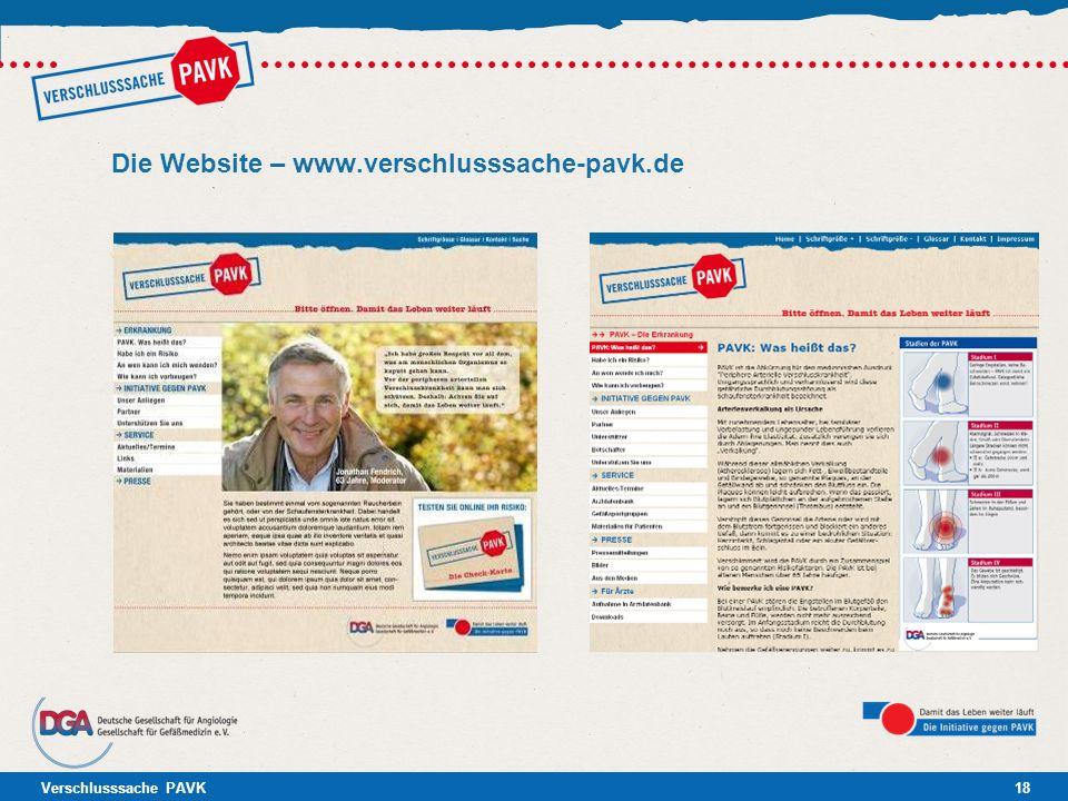 Die Website – www.verschlusssache-pavk.de