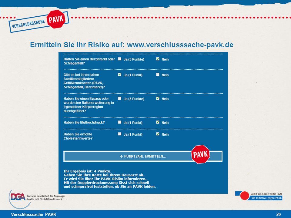 Ermitteln Sie Ihr Risiko auf: www.verschlusssache-pavk.de