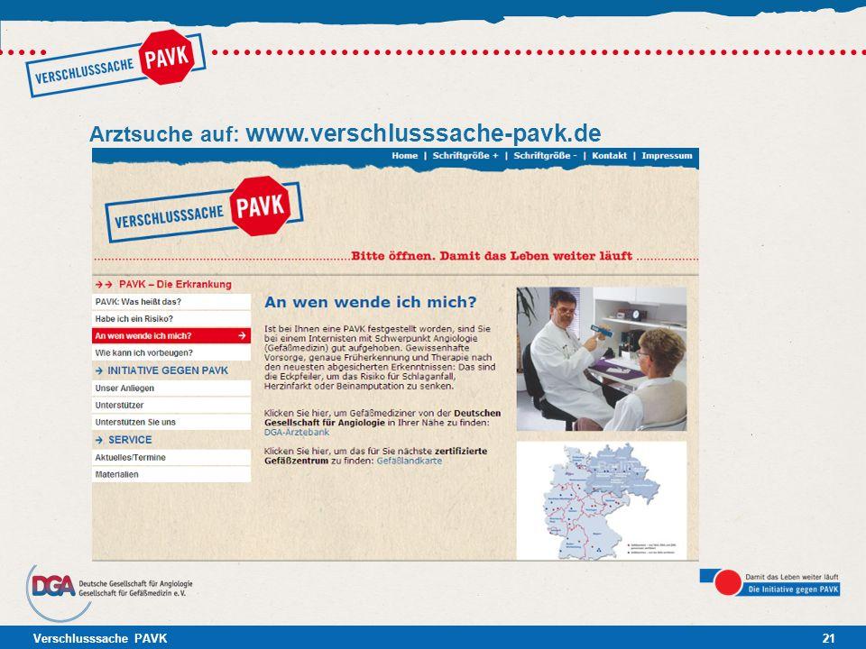 Arztsuche auf: www.verschlusssache-pavk.de