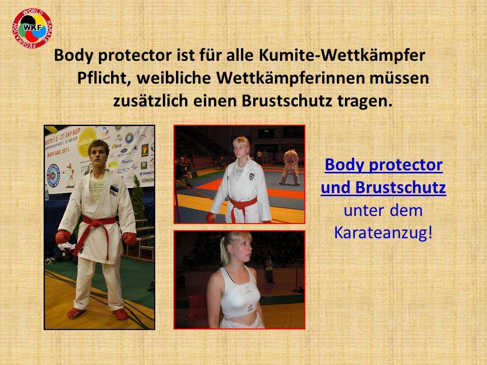 Body protector und Brustschutz unter dem Karateanzug!