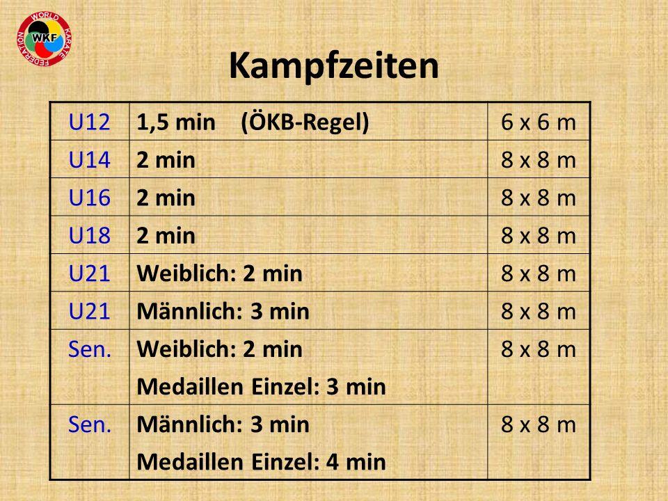 Kampfzeiten U12 1,5 min (ÖKB-Regel) 6 x 6 m U14 2 min 8 x 8 m U16 U18