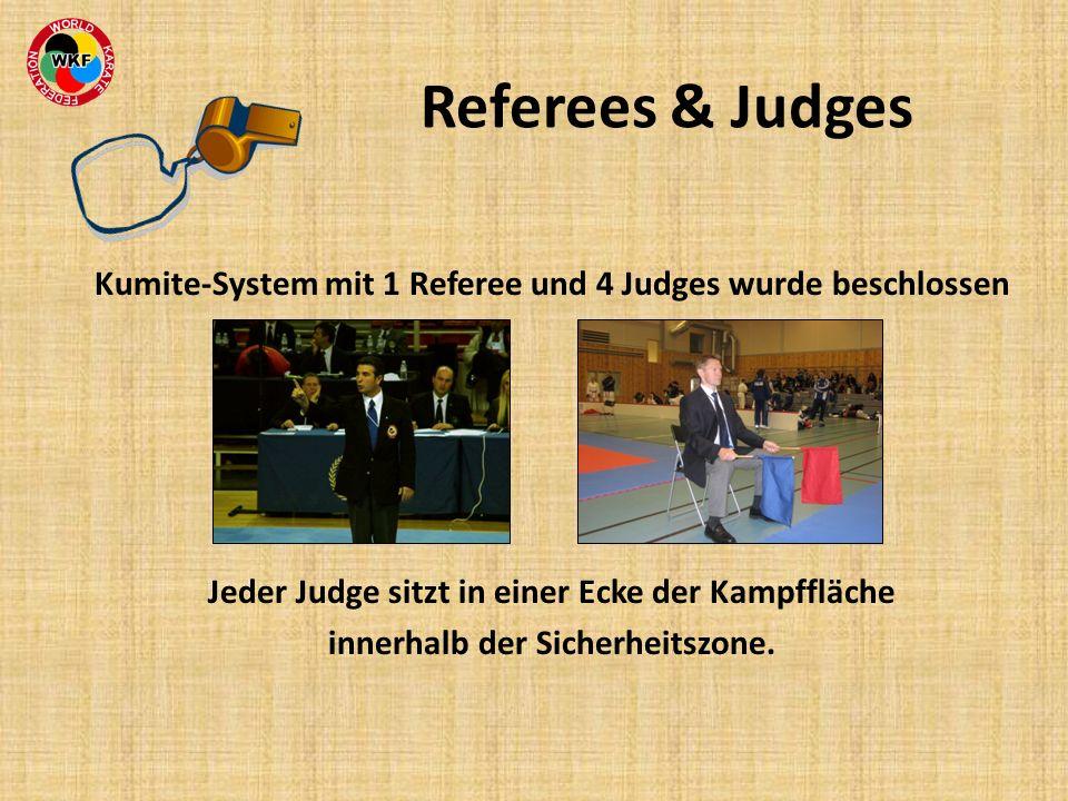 Referees & Judges Kumite-System mit 1 Referee und 4 Judges wurde beschlossen. Jeder Judge sitzt in einer Ecke der Kampffläche.