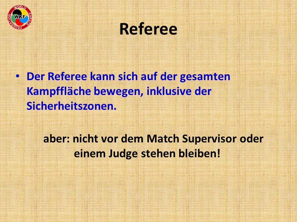 Referee Der Referee kann sich auf der gesamten Kampffläche bewegen, inklusive der Sicherheitszonen.