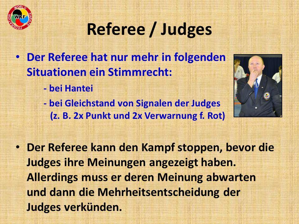 Referee / Judges Der Referee hat nur mehr in folgenden Situationen ein Stimmrecht: - bei Hantei.