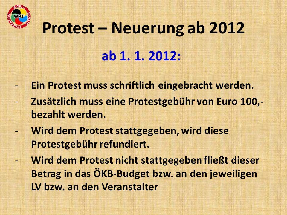 Protest – Neuerung ab 2012 ab 1. 1. 2012: