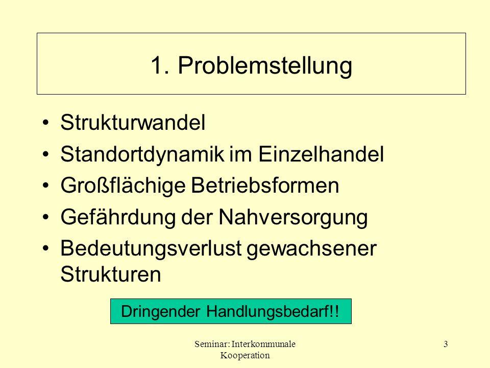 1. Problemstellung Strukturwandel Standortdynamik im Einzelhandel