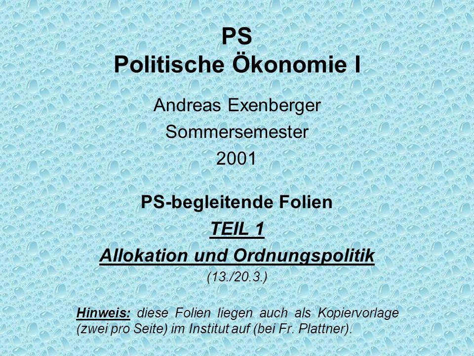PS Politische Ökonomie I