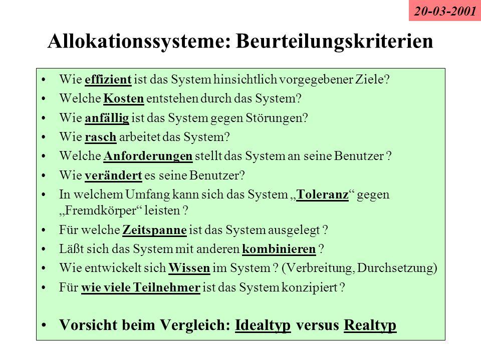 Allokationssysteme: Beurteilungskriterien