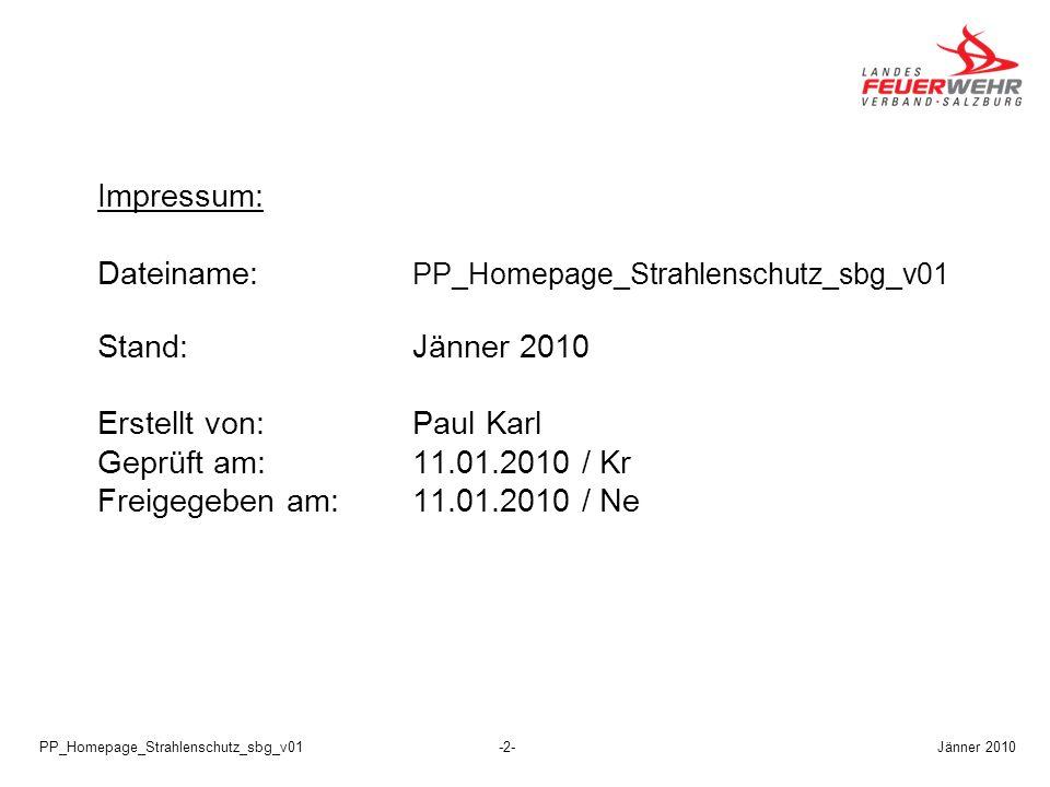 Dateiname: PP_Homepage_Strahlenschutz_sbg_v01 Stand: Jänner 2010