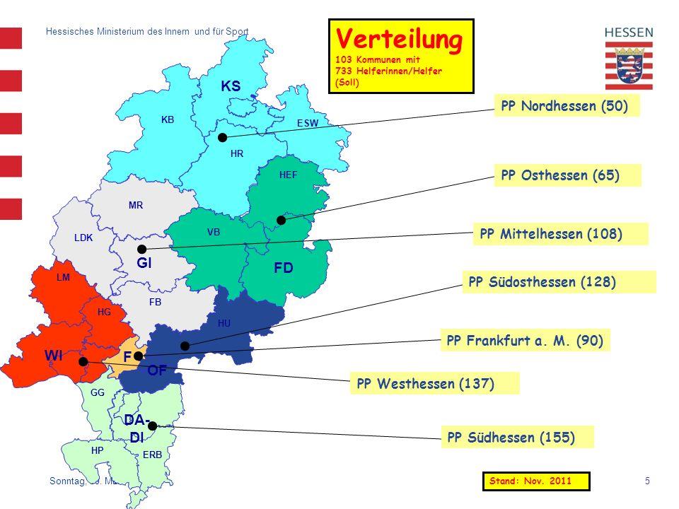 Verteilung KS GI FD WI F OF DA-DI PP Nordhessen (50) PP Osthessen (65)