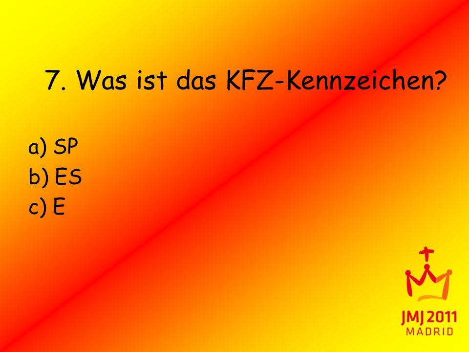 7. Was ist das KFZ-Kennzeichen