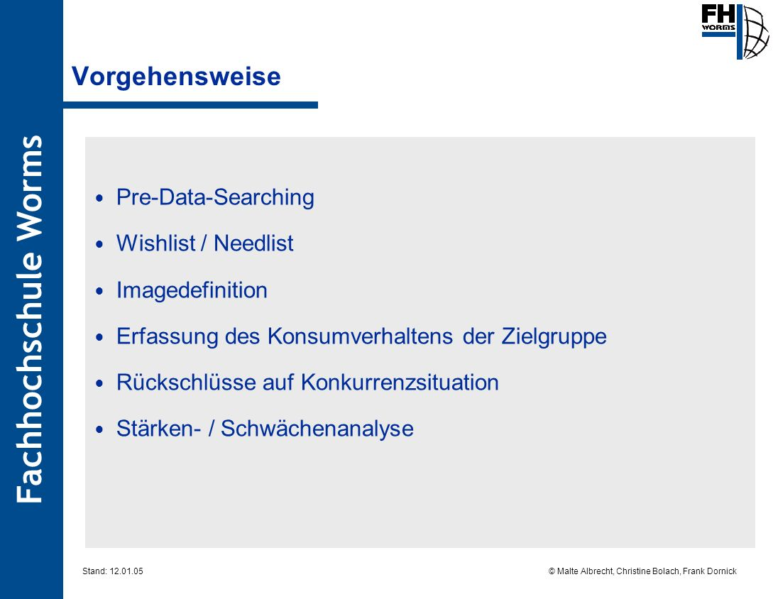 Vorgehensweise Pre-Data-Searching Wishlist / Needlist Imagedefinition