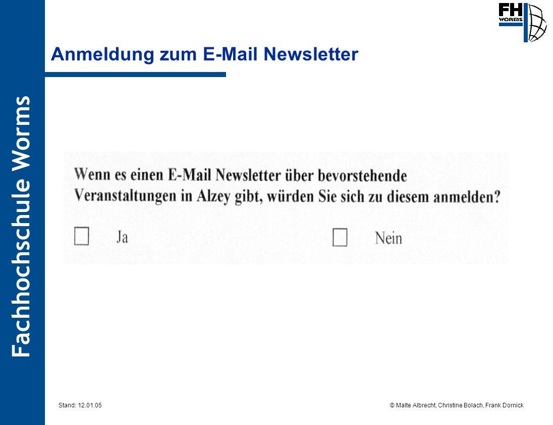 Anmeldung zum E-Mail Newsletter