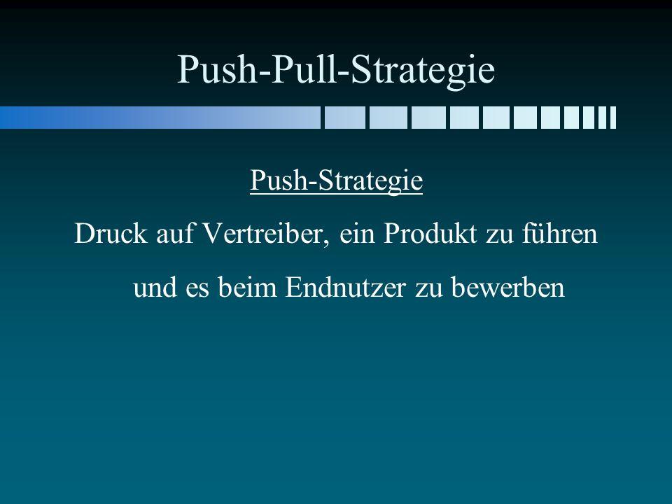 Push-Pull-Strategie Push-Strategie Druck auf Vertreiber, ein Produkt zu führen und es beim Endnutzer zu bewerben