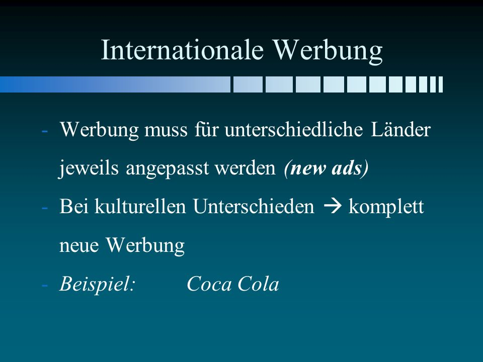 Internationale Werbung