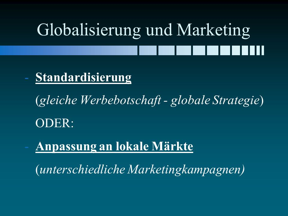 Globalisierung und Marketing