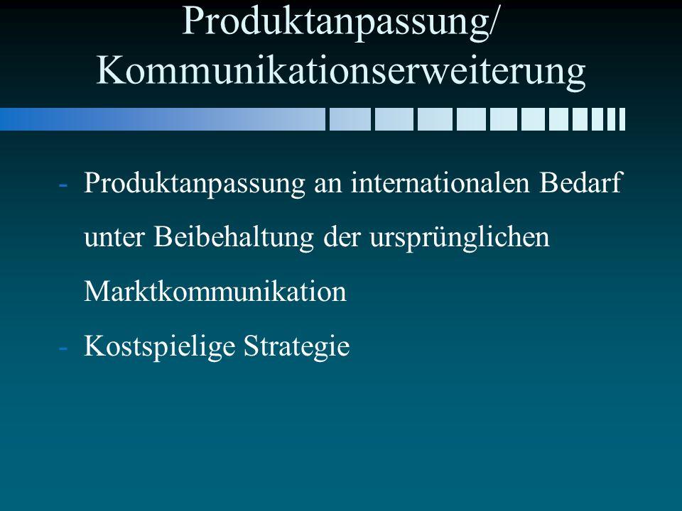 Produktanpassung/ Kommunikationserweiterung