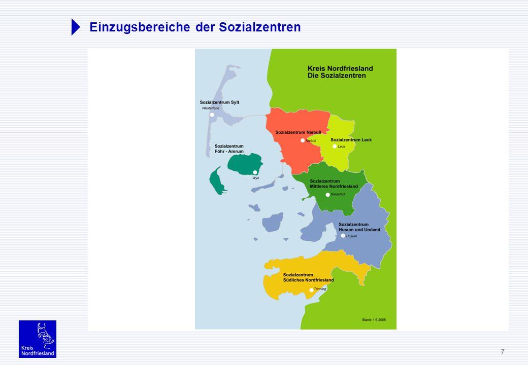 Einzugsbereiche der Sozialzentren