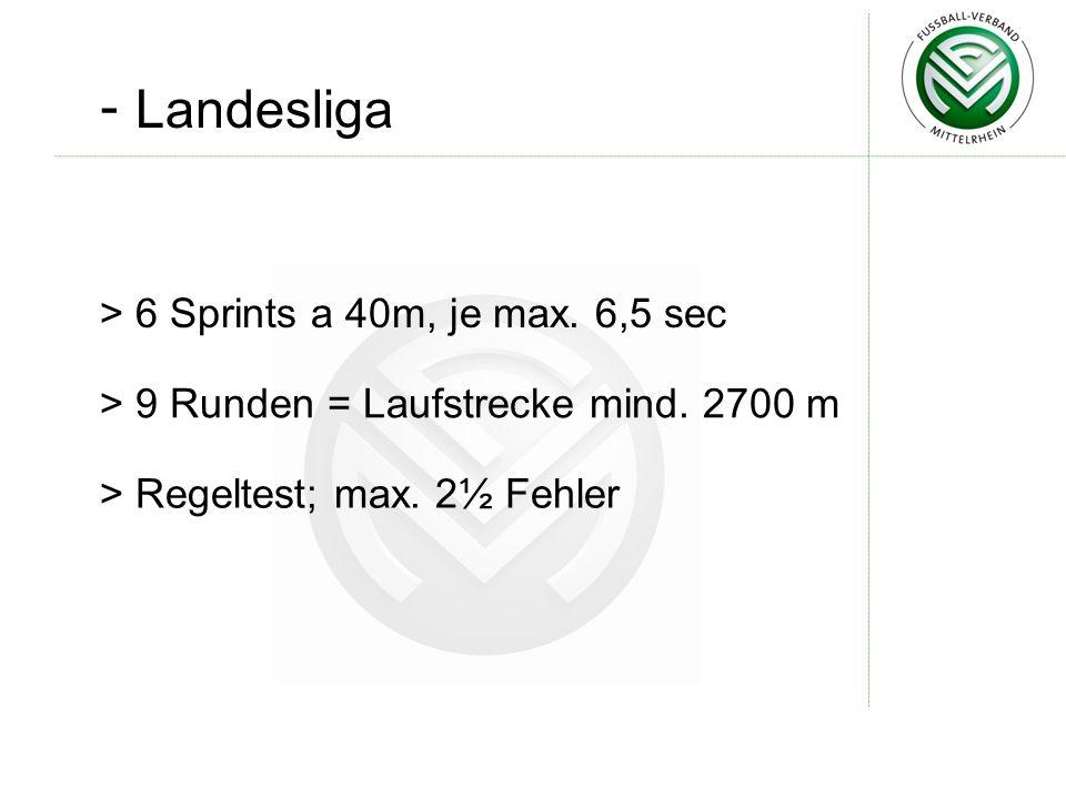 - Landesliga 6 Sprints a 40m, je max. 6,5 sec