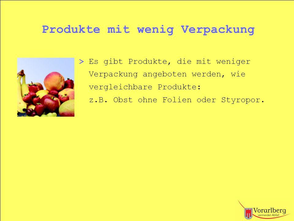 Produkte mit wenig Verpackung
