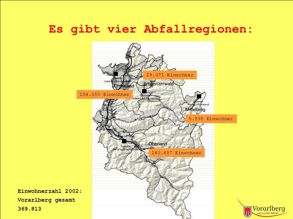 Es gibt vier Abfallregionen: