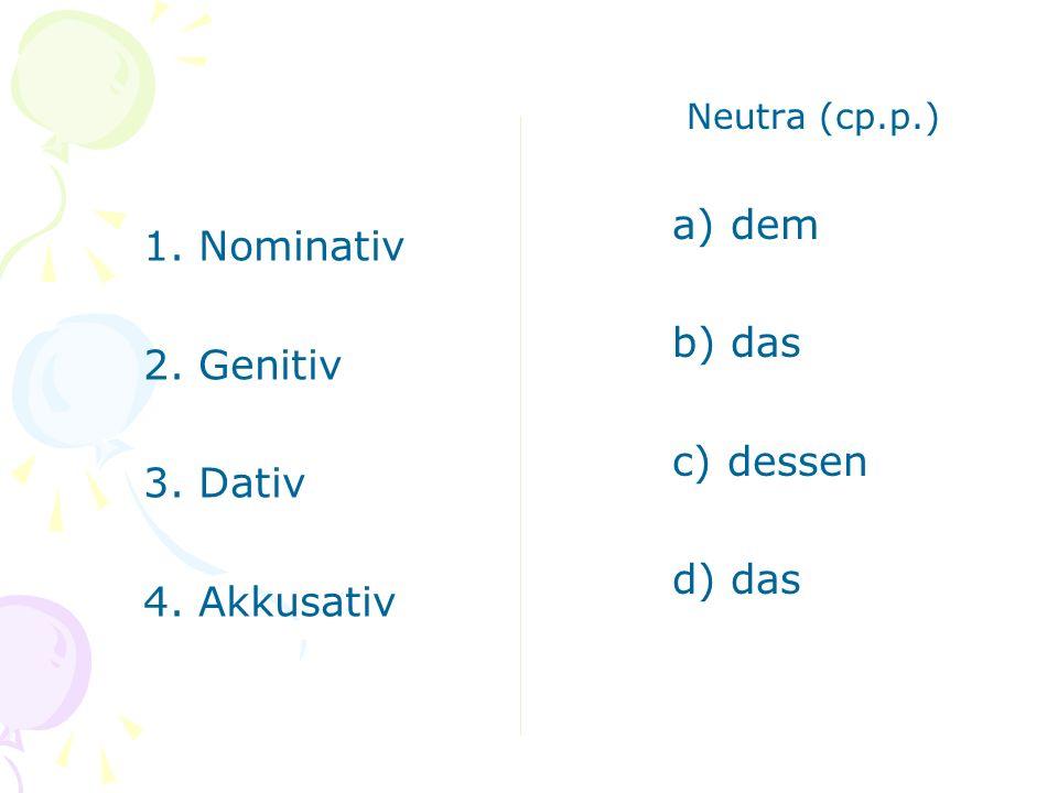 Neutra (ср.р.) dem das dessen 1. Nominativ 2. Genitiv 3. Dativ 4. Akkusativ