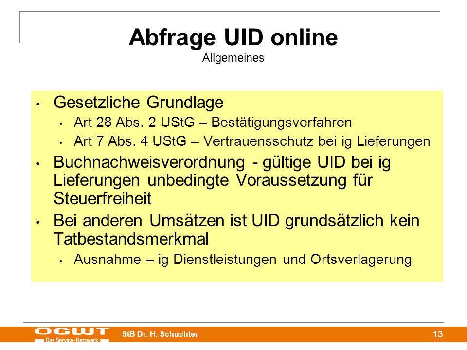 Abfrage UID online Allgemeines