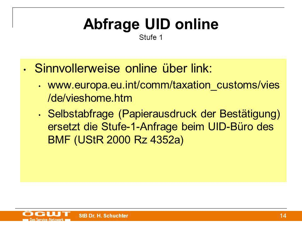Abfrage UID online Stufe 1