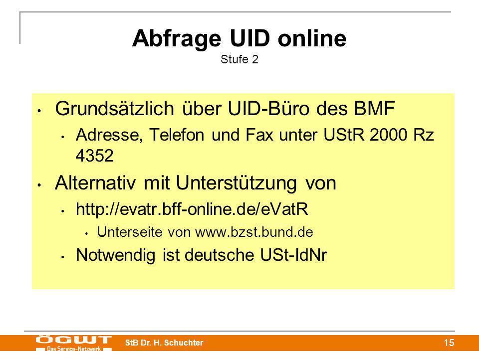 Abfrage UID online Stufe 2