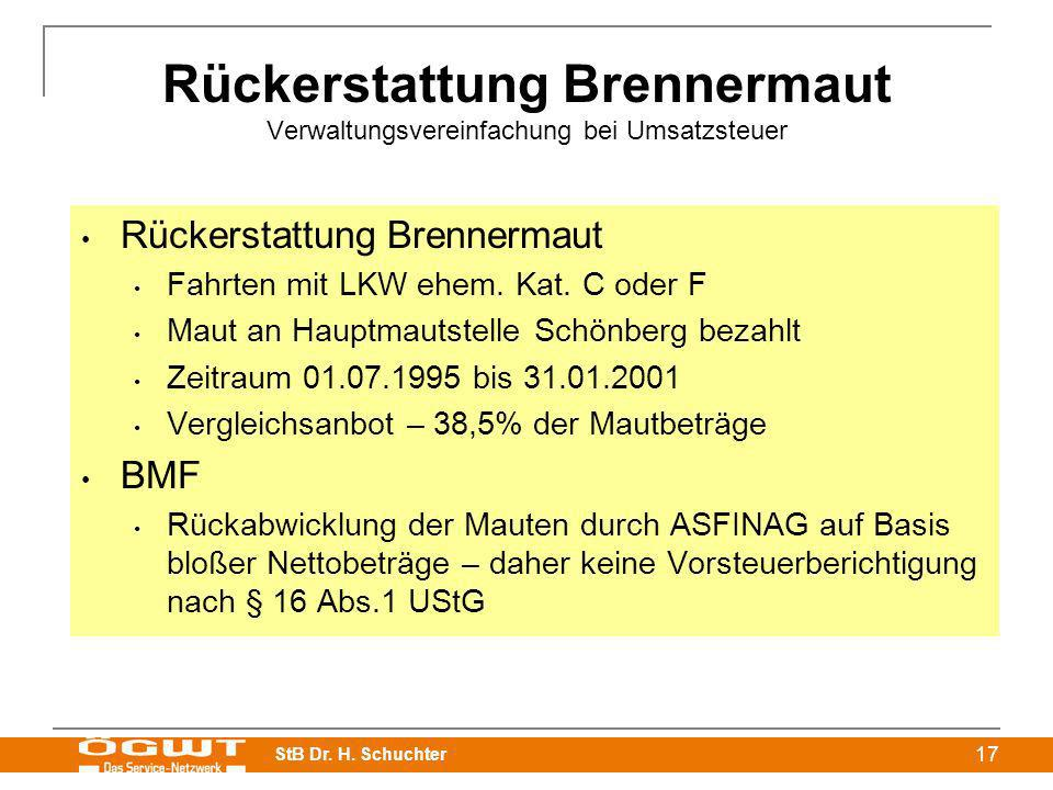 Rückerstattung Brennermaut Verwaltungsvereinfachung bei Umsatzsteuer