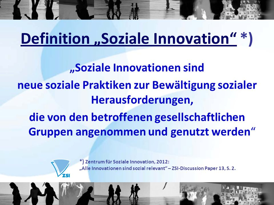"Definition ""Soziale Innovation *)"