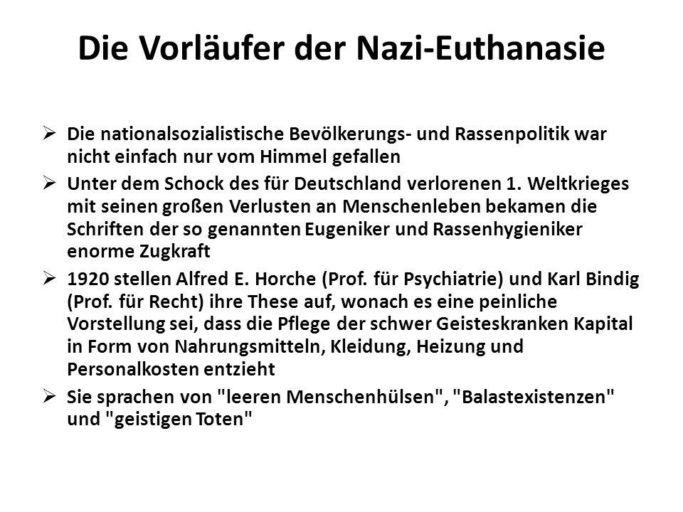 Die Vorläufer der Nazi-Euthanasie