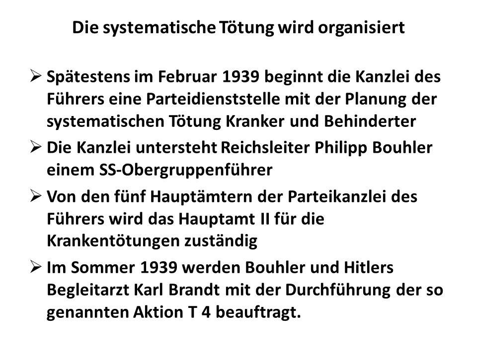 Die systematische Tötung wird organisiert