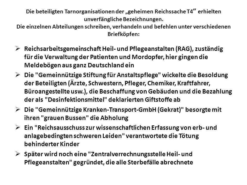 """Die beteiligten Tarnorganisationen der """"geheimen Reichssache T4 erhielten unverfängliche Bezeichnungen. Die einzelnen Abteilungen schreiben, verhandeln und befehlen unter verschiedenen Briefköpfen:"""
