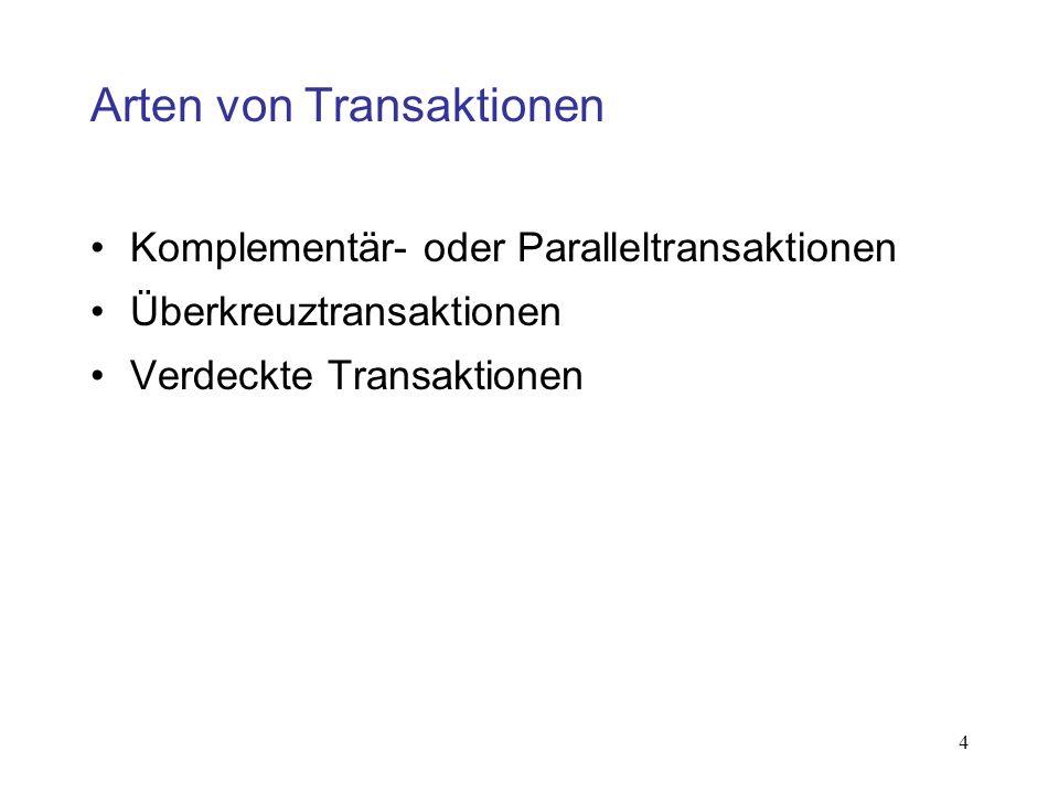 Arten von Transaktionen