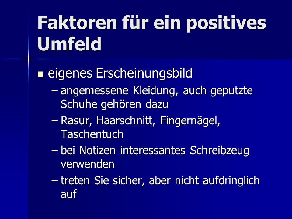 Faktoren für ein positives Umfeld