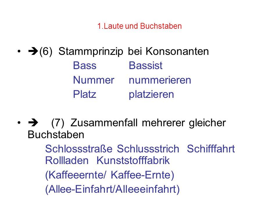 (6) Stammprinzip bei Konsonanten Bass Bassist Nummer nummerieren