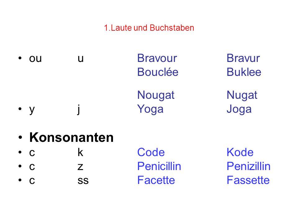 Konsonanten ou u Bravour Bravur Bouclée Buklee Nougat Nugat