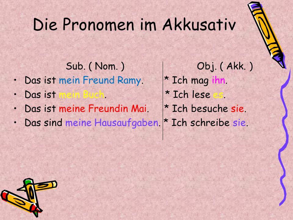 Die Pronomen im Akkusativ