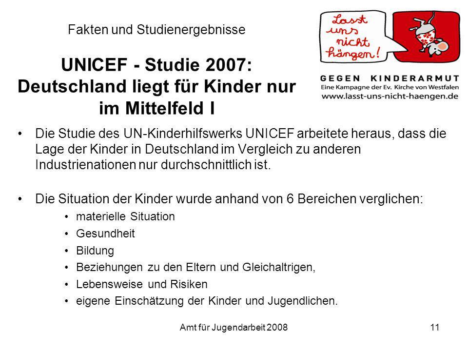 Fakten und Studienergebnisse UNICEF - Studie 2007: Deutschland liegt für Kinder nur im Mittelfeld I