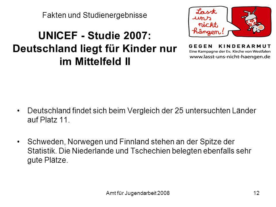 Fakten und Studienergebnisse UNICEF - Studie 2007: Deutschland liegt für Kinder nur im Mittelfeld II