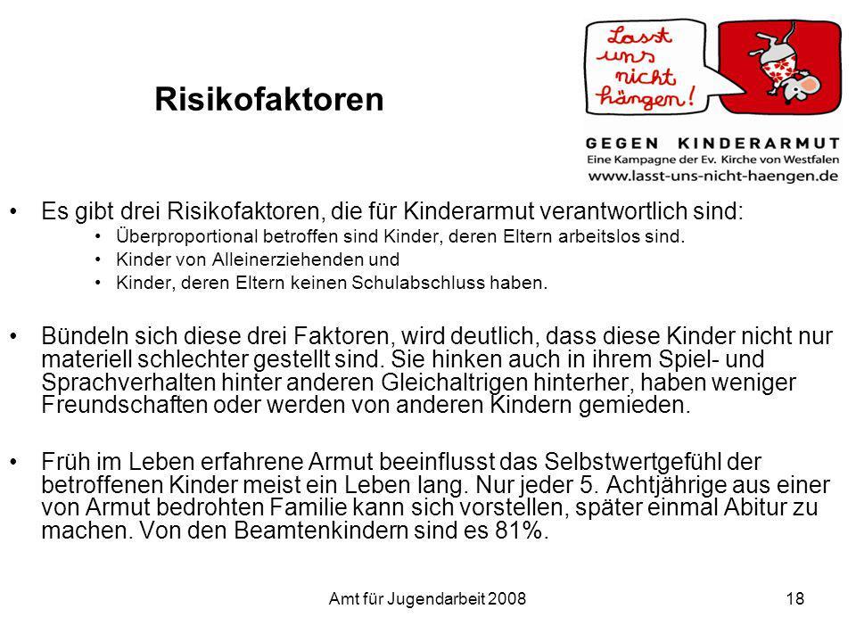 Risikofaktoren Es gibt drei Risikofaktoren, die für Kinderarmut verantwortlich sind: